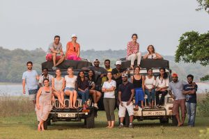 Mai Globe Travels team at Minneriya National Park